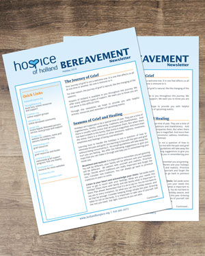 picture of bereavement newsletters on desk