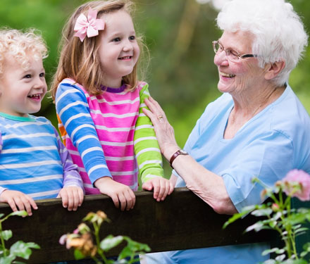two grandkids with their grandma